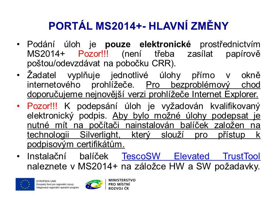Portál MS2014+- Hlavní změny