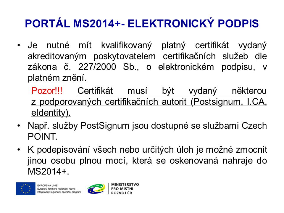 Portál MS2014+- Elektronický podpis