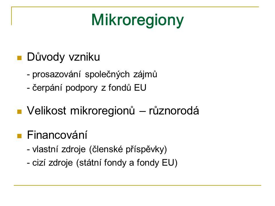 Mikroregiony Důvody vzniku - prosazování společných zájmů