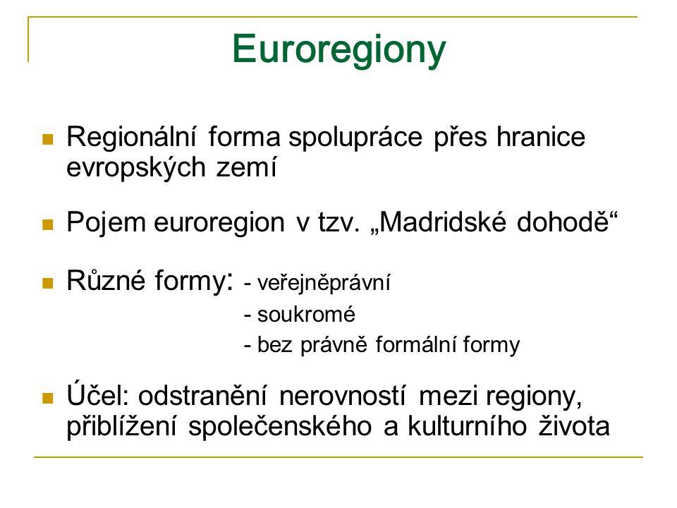 Euroregiony Regionální forma spolupráce přes hranice evropských zemí