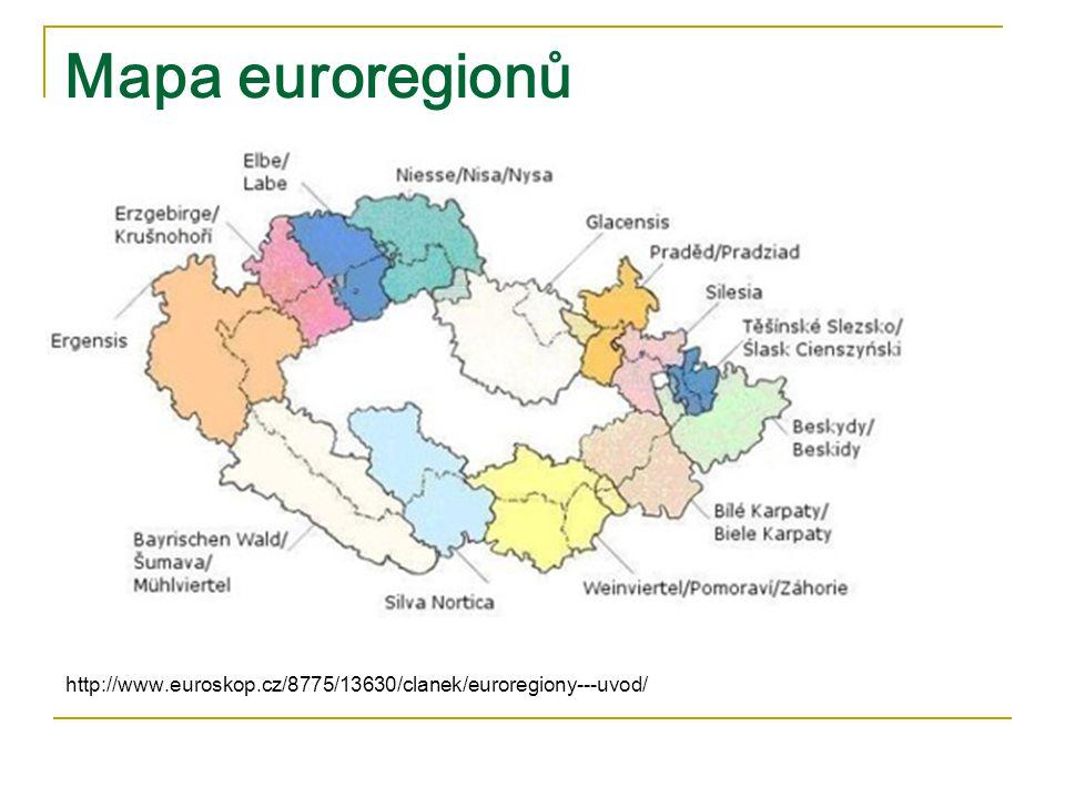 Mapa euroregionů http://www.euroskop.cz/8775/13630/clanek/euroregiony---uvod/