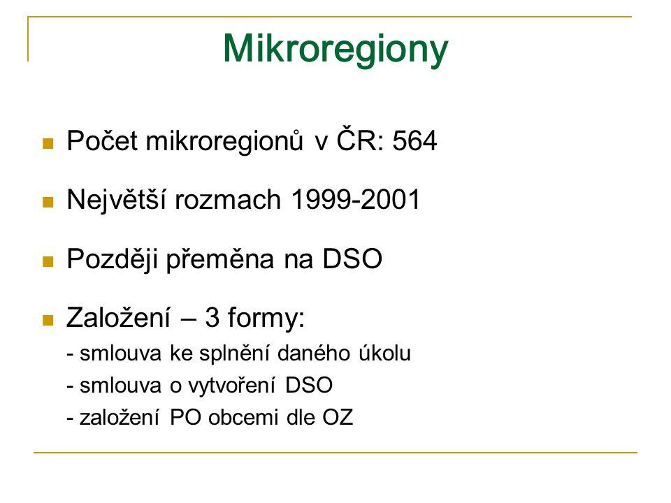 Mikroregiony Počet mikroregionů v ČR: 564 Největší rozmach 1999-2001