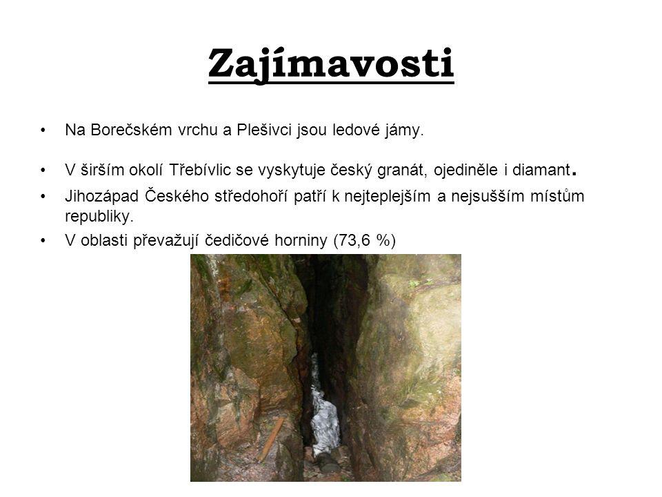 Zajímavosti Na Borečském vrchu a Plešivci jsou ledové jámy.