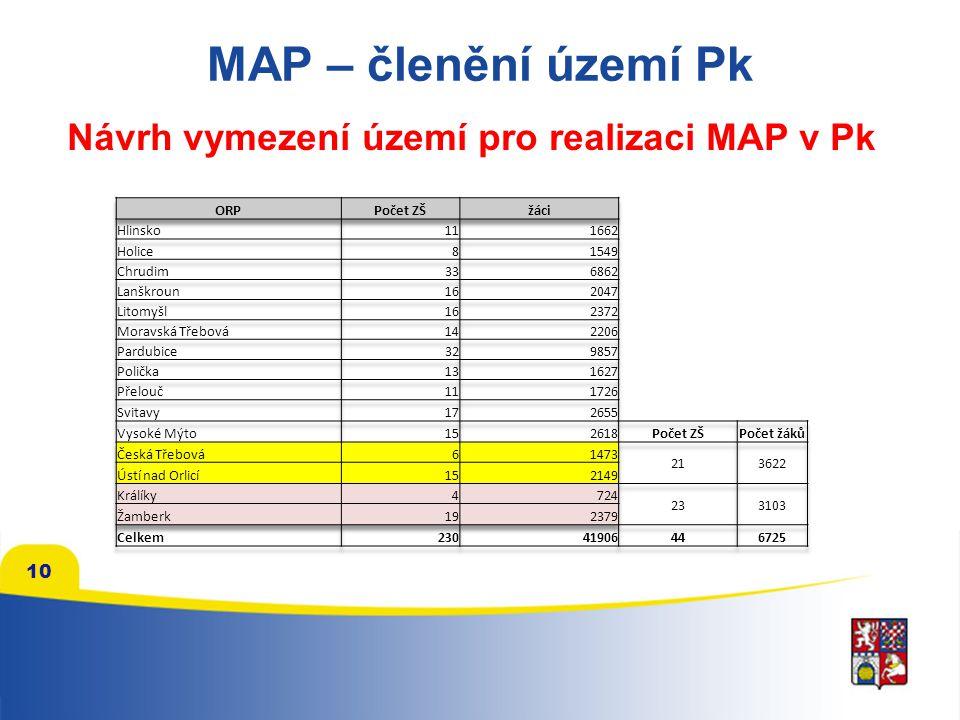 MAP – členění území Pk Návrh vymezení území pro realizaci MAP v Pk 10