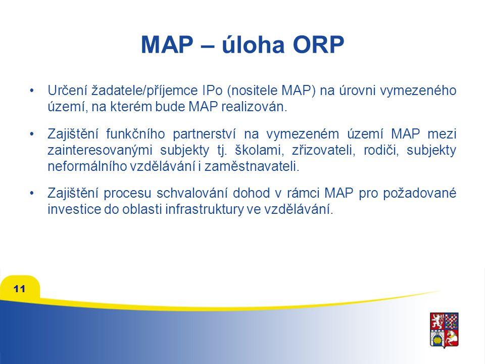 MAP – úloha ORP Určení žadatele/příjemce IPo (nositele MAP) na úrovni vymezeného území, na kterém bude MAP realizován.