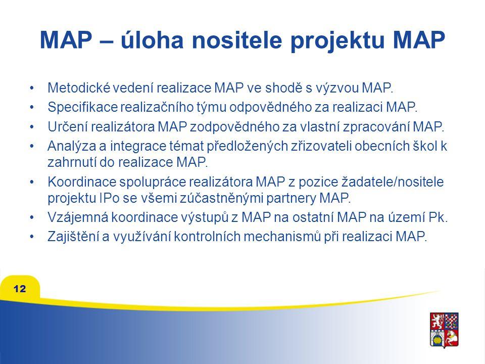 MAP – úloha nositele projektu MAP