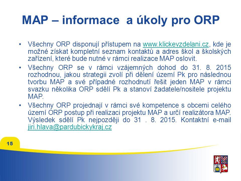 MAP – informace a úkoly pro ORP