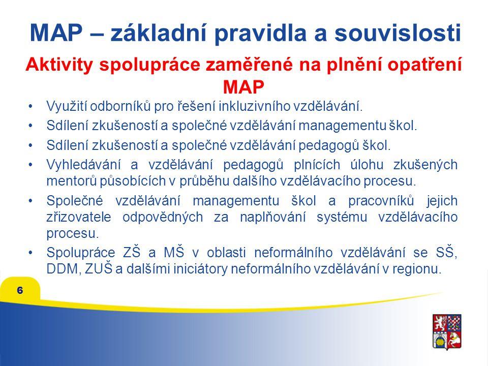 Aktivity spolupráce zaměřené na plnění opatření MAP