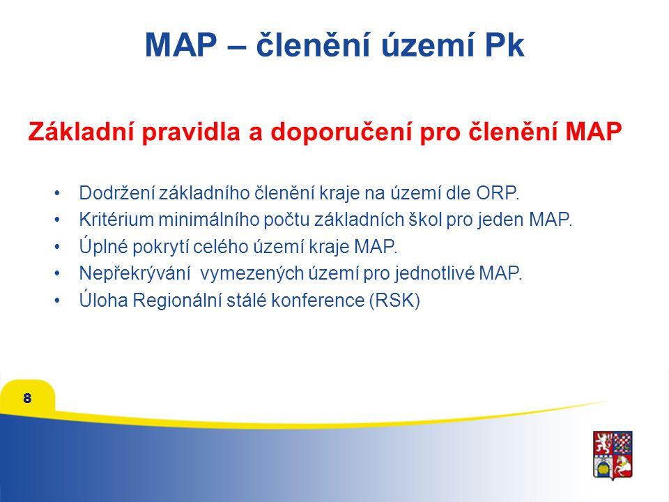 MAP – členění území Pk Základní pravidla a doporučení pro členění MAP