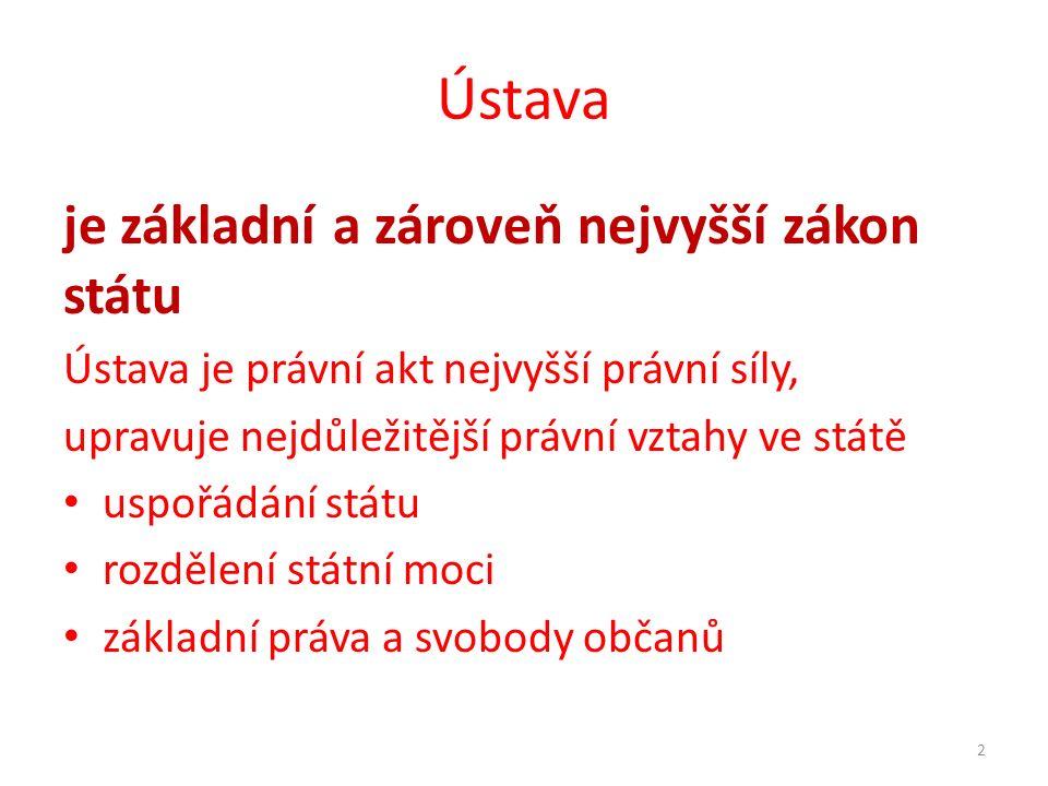 Ústava je základní a zároveň nejvyšší zákon státu