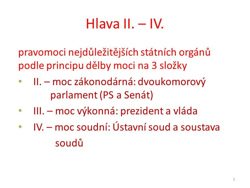 Hlava II. – IV. pravomoci nejdůležitějších státních orgánů podle principu dělby moci na 3 složky.