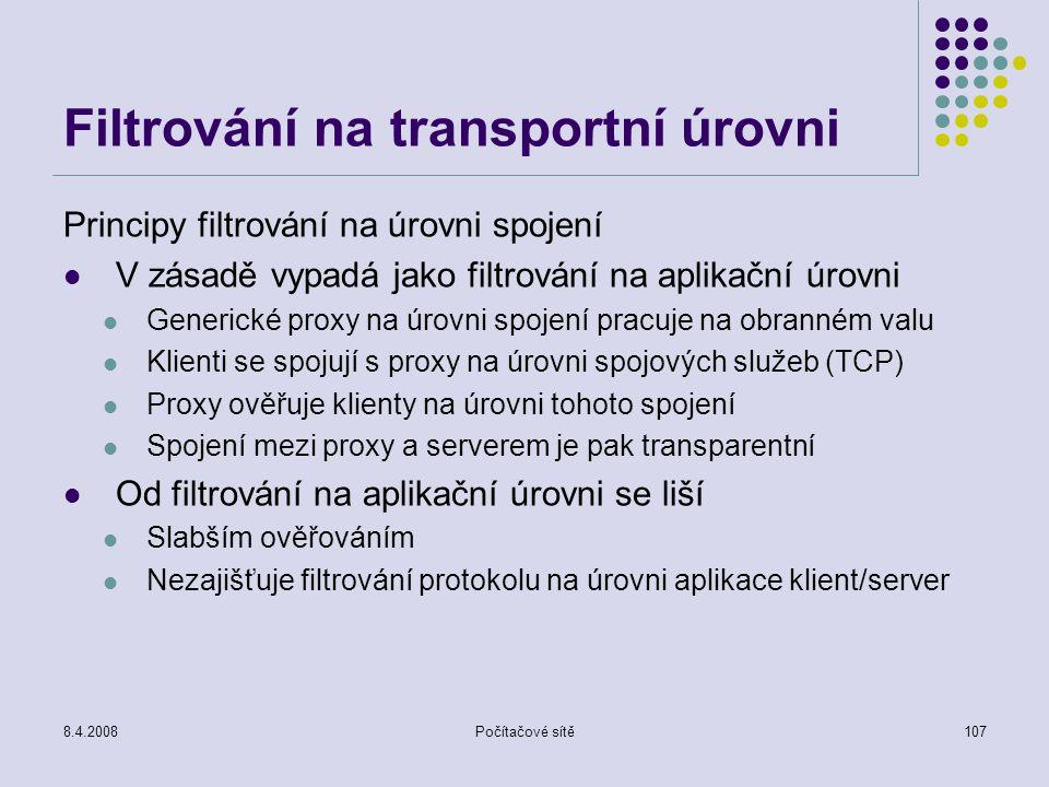 Filtrování na transportní úrovni