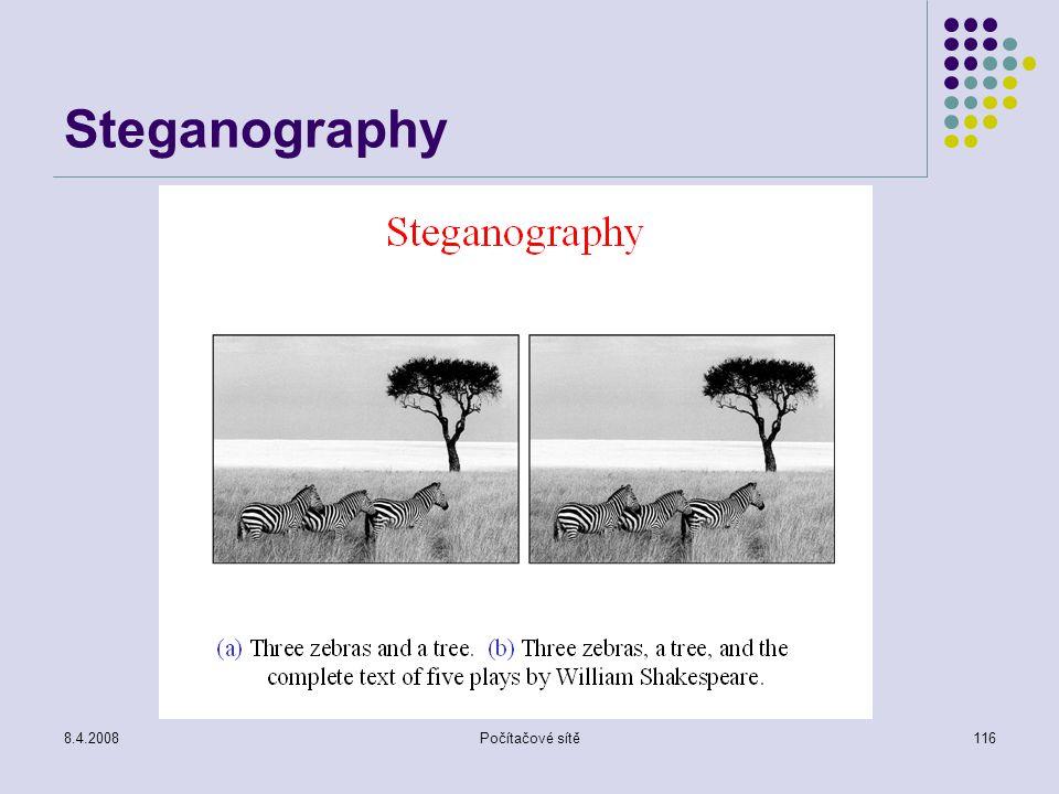 Steganography 8.4.2008 Počítačové sítě