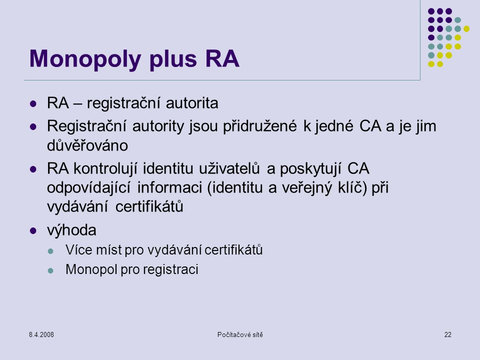 Monopoly plus RA RA – registrační autorita