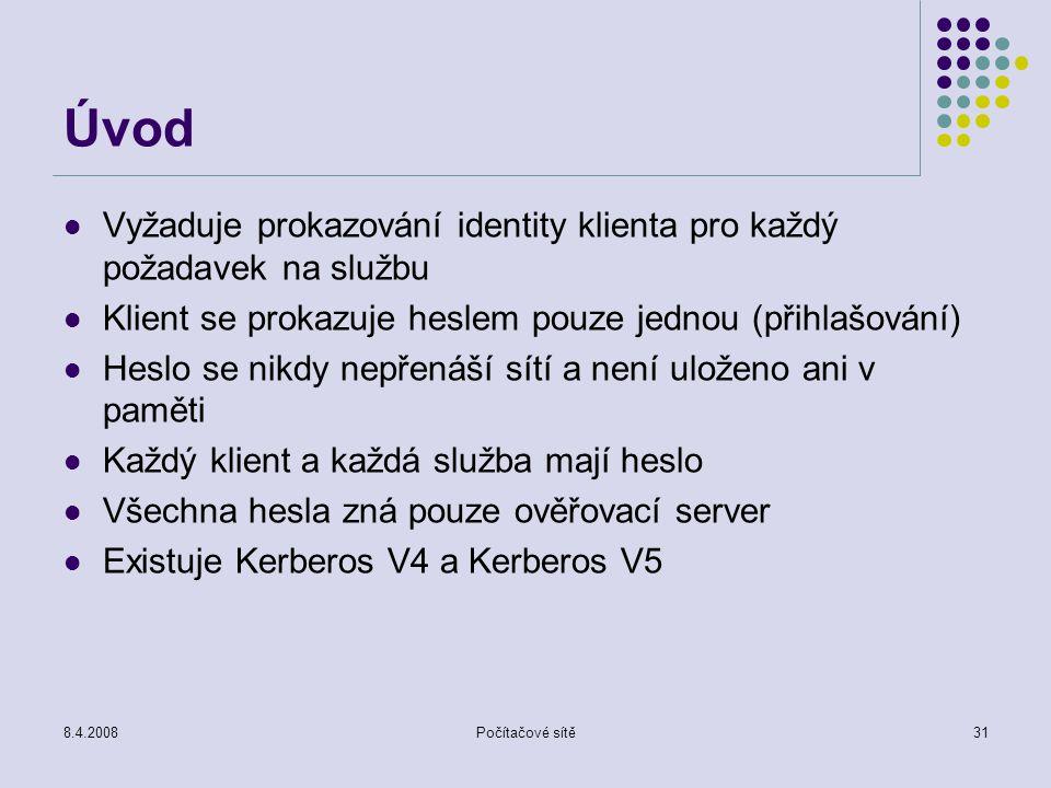 Úvod Vyžaduje prokazování identity klienta pro každý požadavek na službu. Klient se prokazuje heslem pouze jednou (přihlašování)