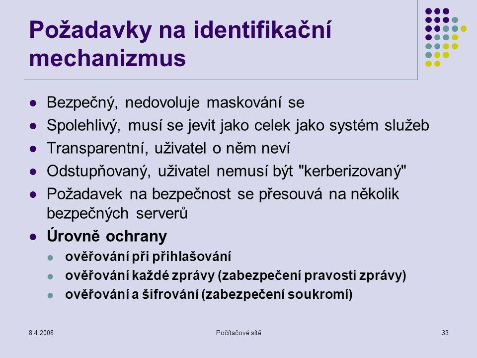 Požadavky na identifikační mechanizmus