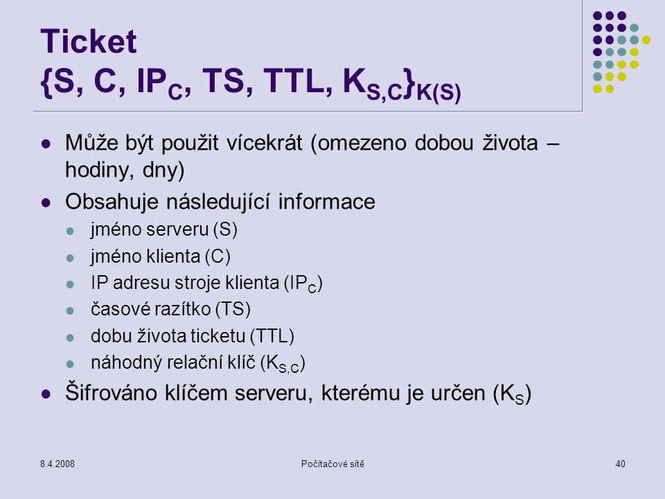 Ticket {S, C, IPC, TS, TTL, KS,C}K(S)