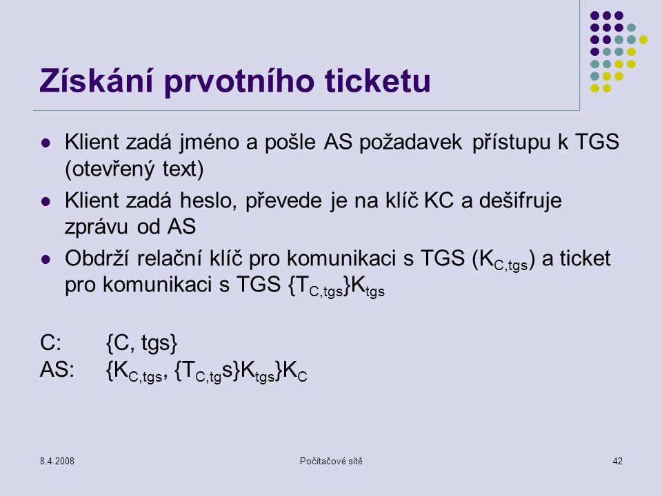 Získání prvotního ticketu