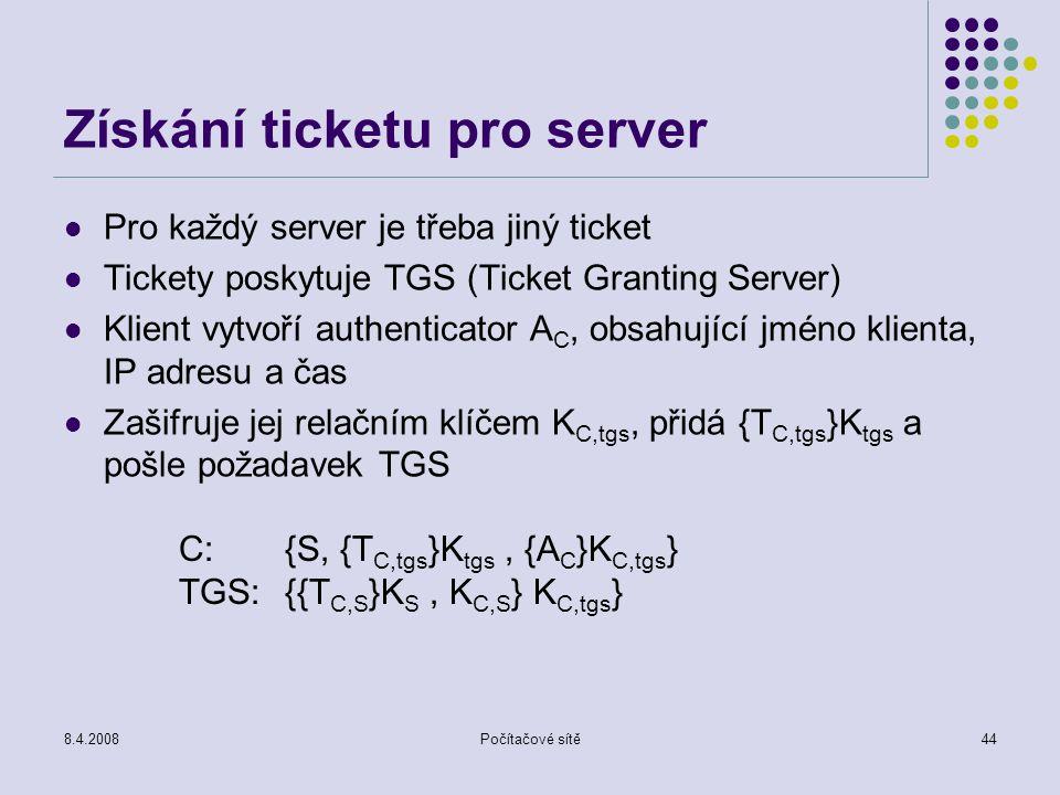 Získání ticketu pro server