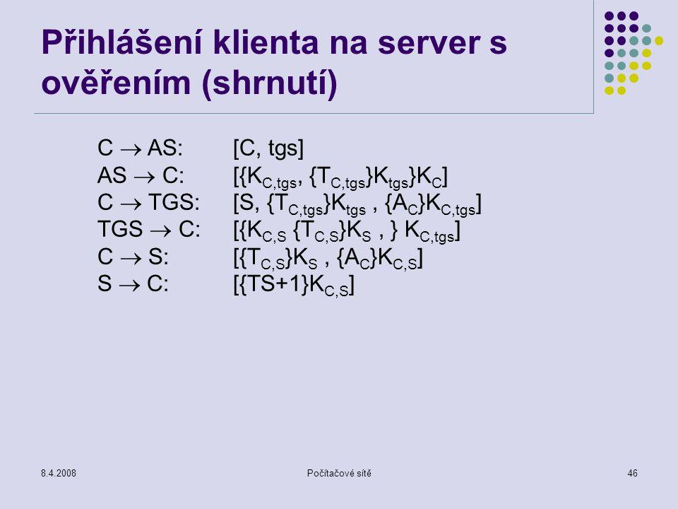 Přihlášení klienta na server s ověřením (shrnutí)