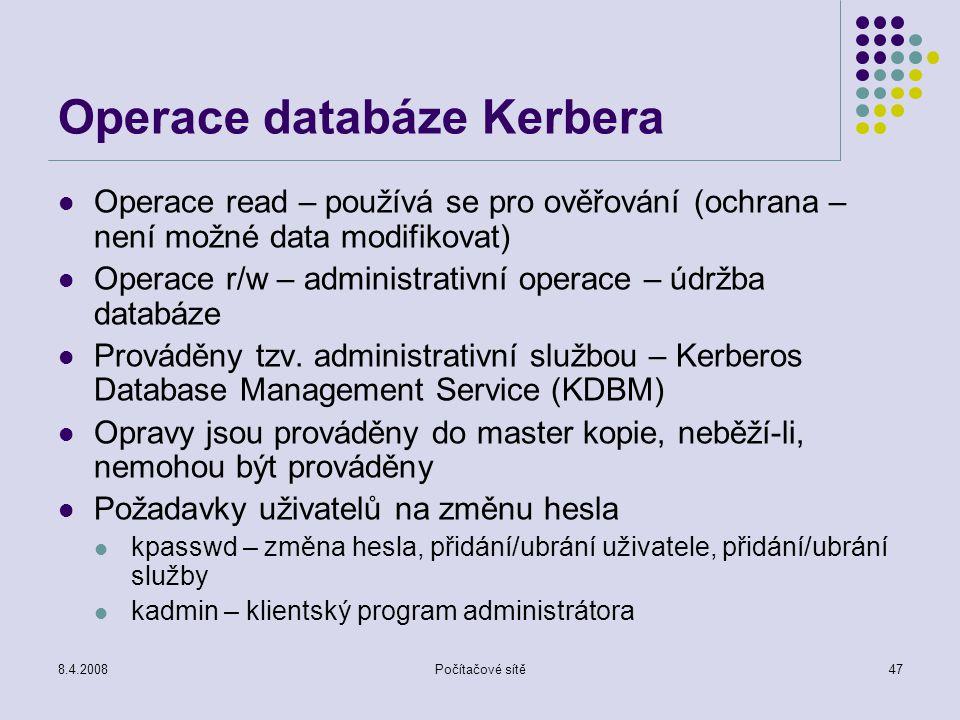 Operace databáze Kerbera