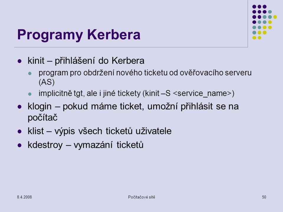 Programy Kerbera kinit – přihlášení do Kerbera