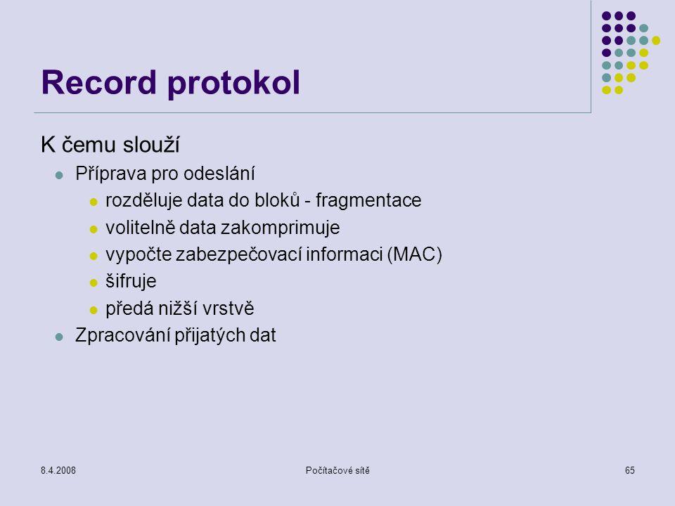 Record protokol K čemu slouží Příprava pro odeslání