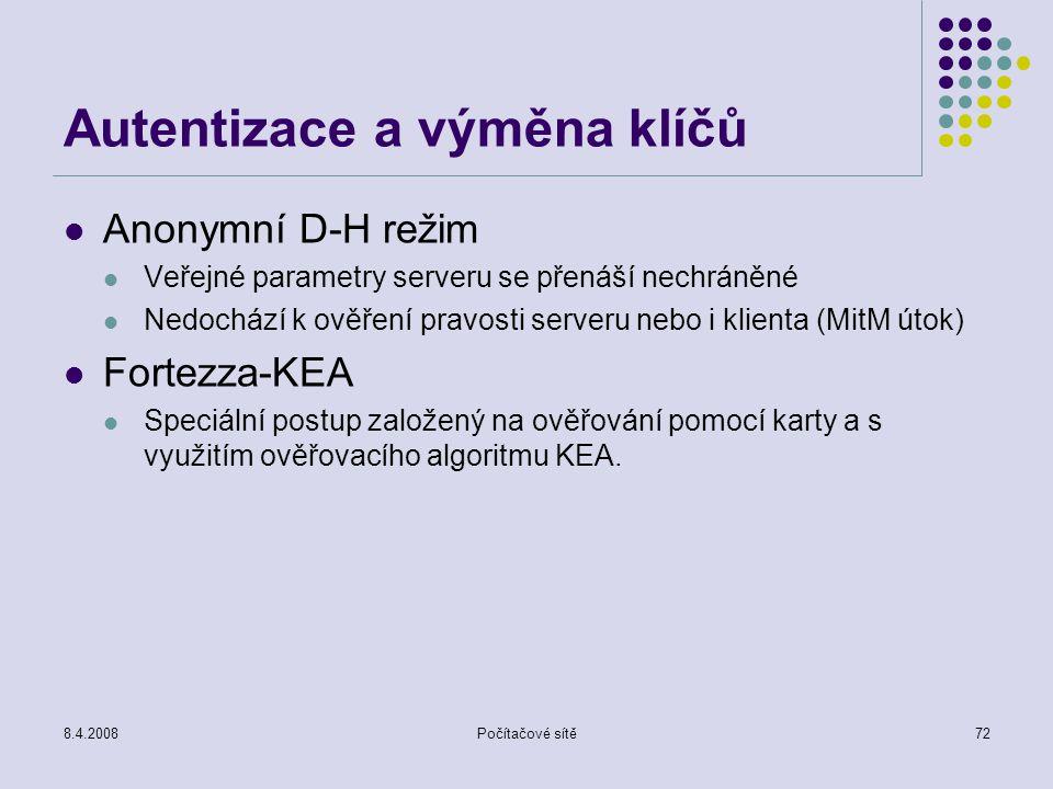 Autentizace a výměna klíčů