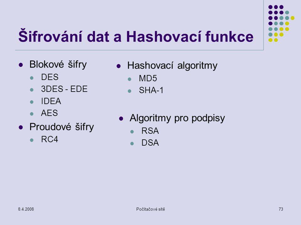 Šifrování dat a Hashovací funkce