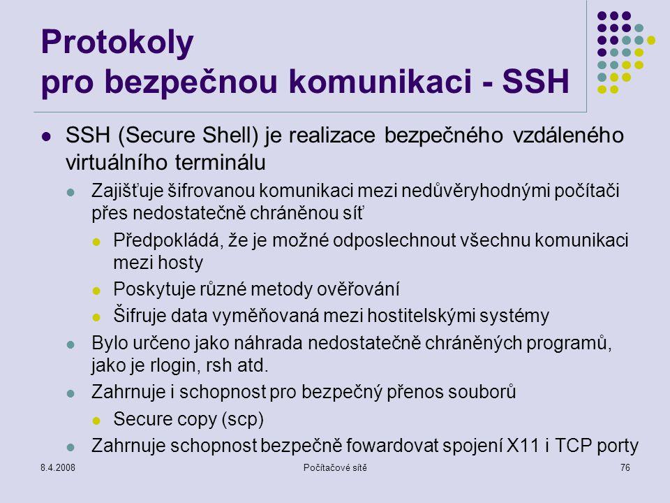 Protokoly pro bezpečnou komunikaci - SSH