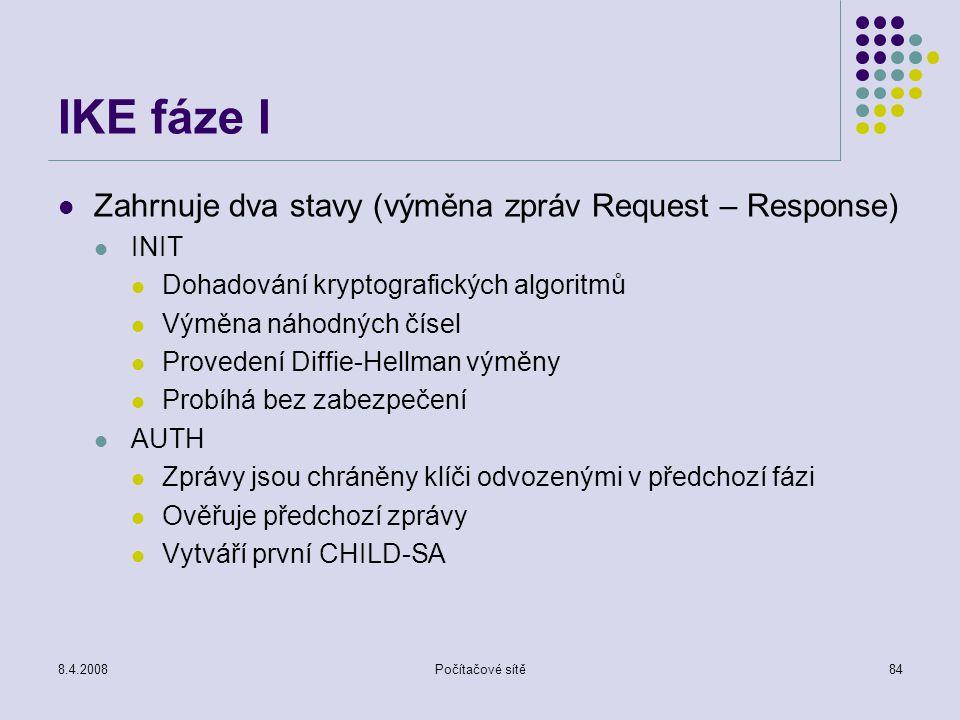 IKE fáze I Zahrnuje dva stavy (výměna zpráv Request – Response) INIT