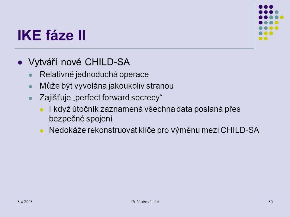 IKE fáze II Vytváří nové CHILD-SA Relativně jednoduchá operace