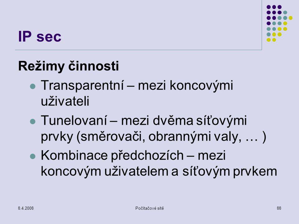IP sec Režimy činnosti Transparentní – mezi koncovými uživateli