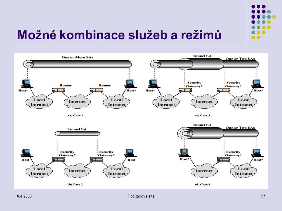 Možné kombinace služeb a režimů