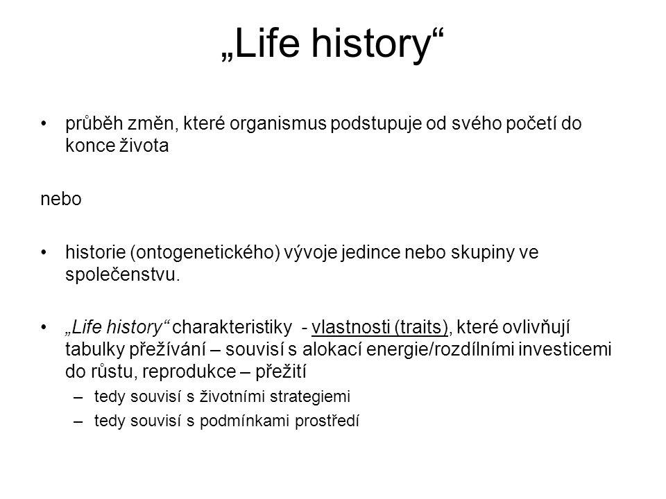 """""""Life history průběh změn, které organismus podstupuje od svého početí do konce života. nebo."""