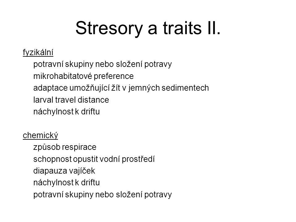 Stresory a traits II. fyzikální potravní skupiny nebo složení potravy