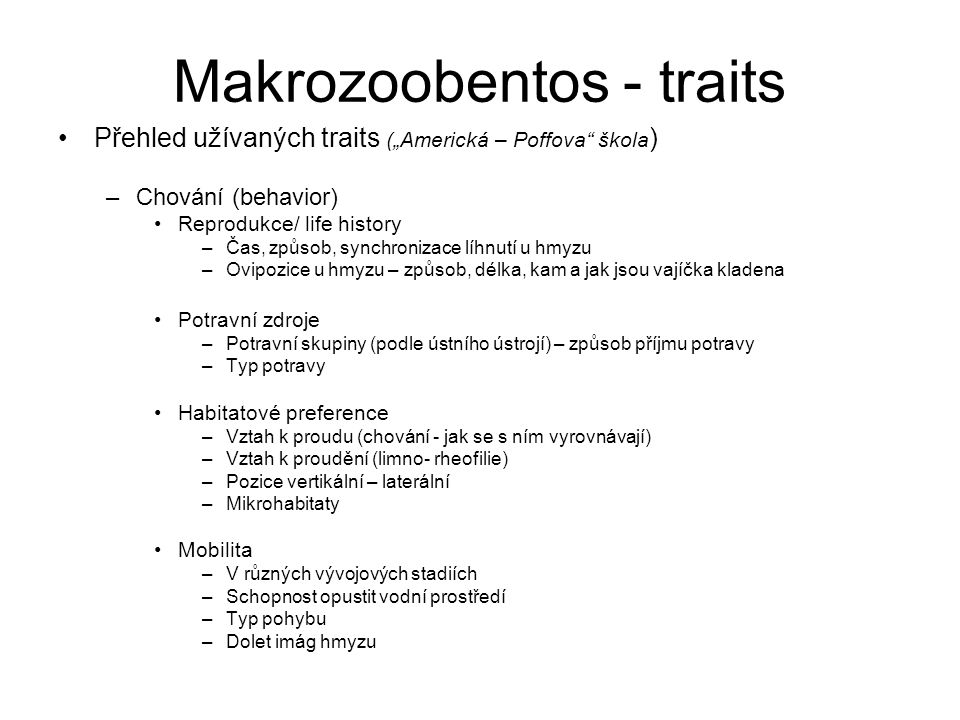 Makrozoobentos - traits