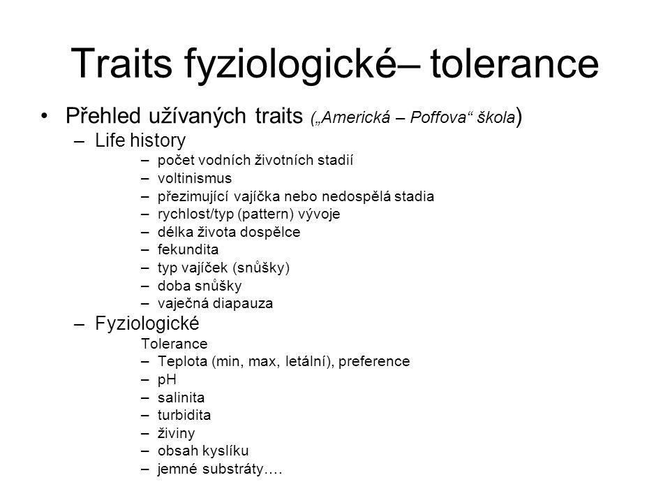 Traits fyziologické– tolerance