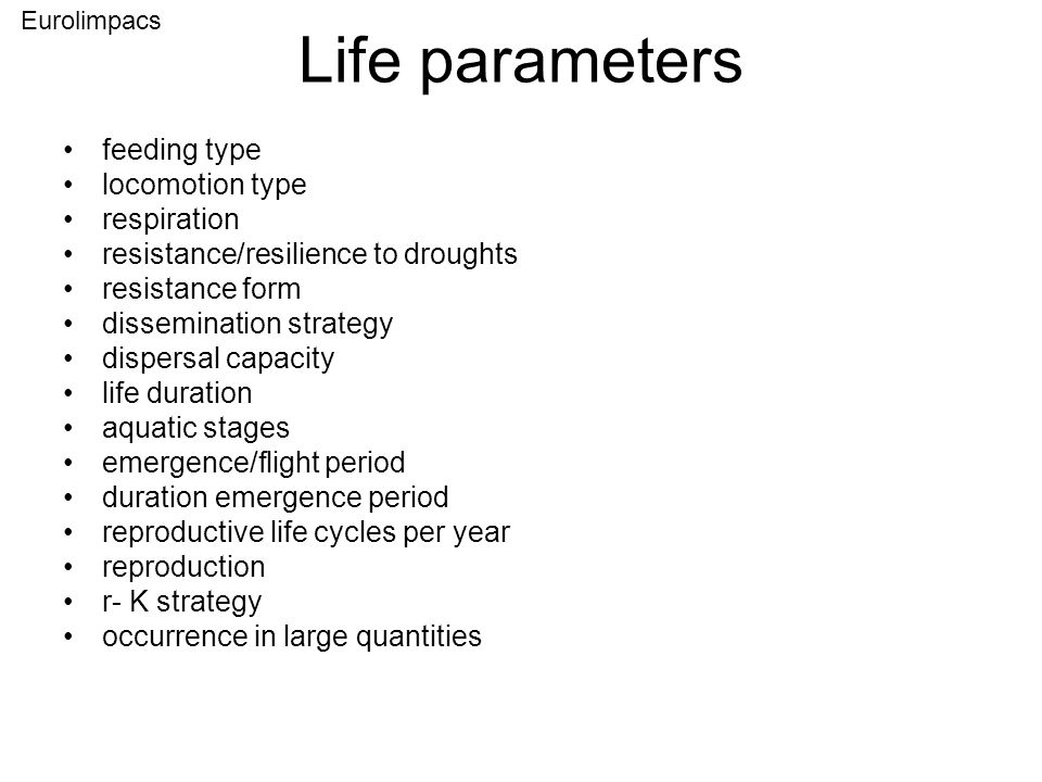 Life parameters feeding type locomotion type respiration