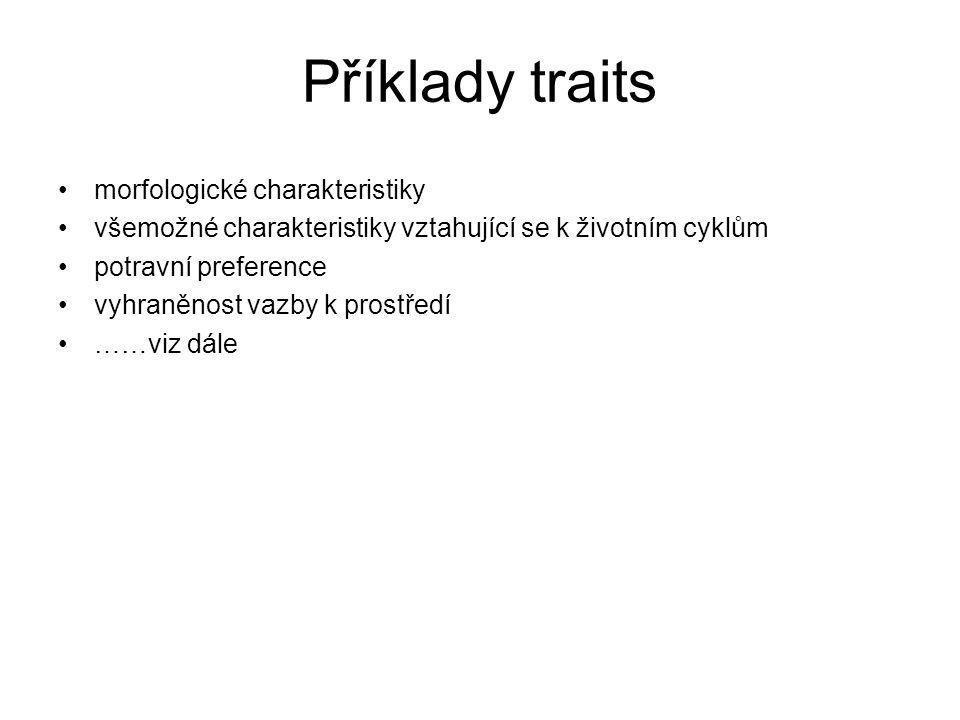 Příklady traits morfologické charakteristiky