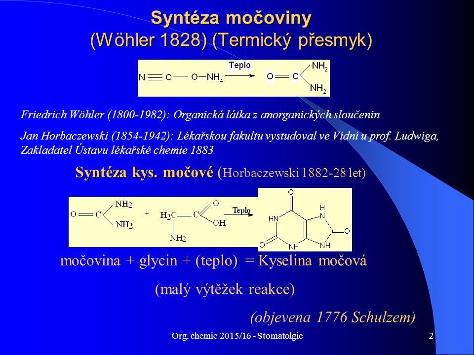 Syntéza močoviny (Wöhler 1828) (Termický přesmyk)