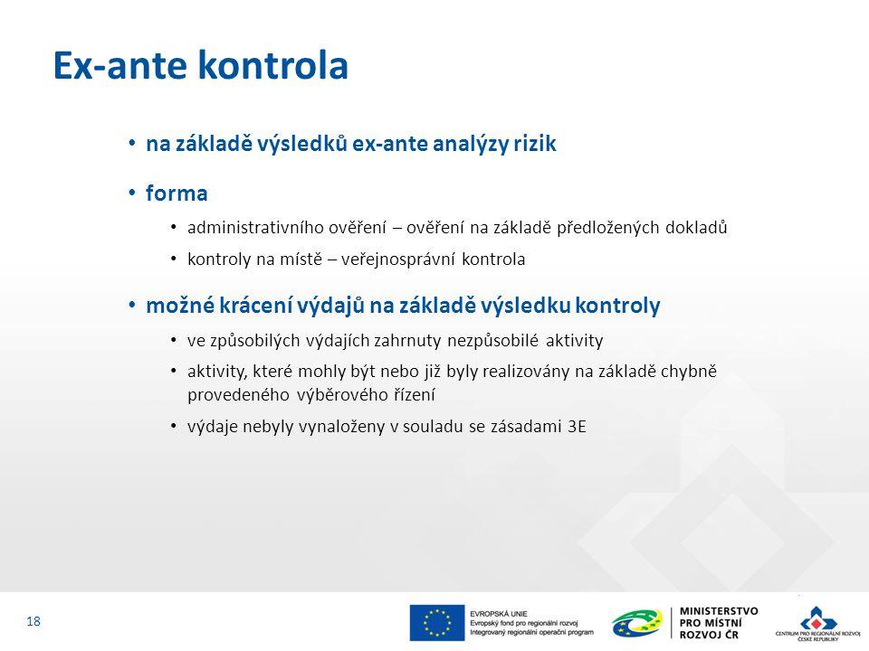 Ex-ante kontrola na základě výsledků ex-ante analýzy rizik forma