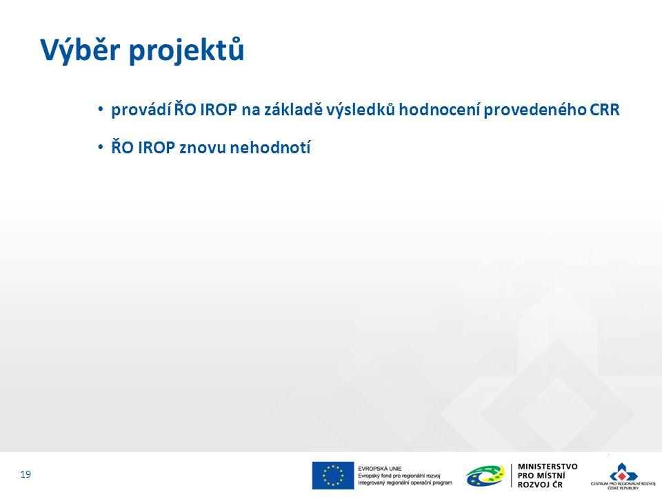 Výběr projektů provádí ŘO IROP na základě výsledků hodnocení provedeného CRR.