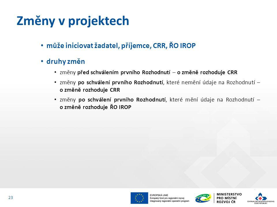 Změny v projektech může iniciovat žadatel, příjemce, CRR, ŘO IROP