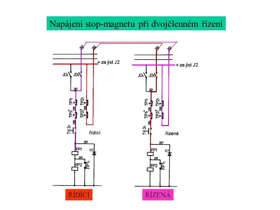 Napájení stop-magnetu při dvojčlenném řízení