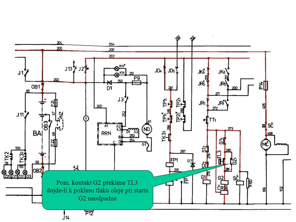Pom. kontakt G2 překlene TL3 dojde-li k poklesu tlaku oleje při startu