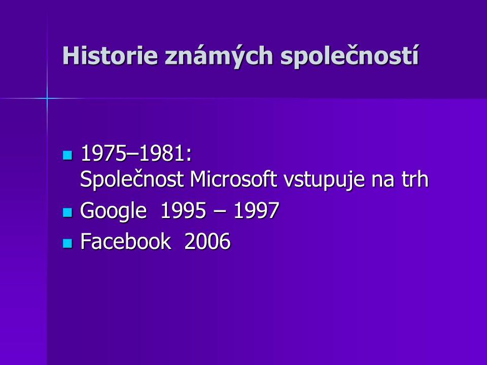 Historie známých společností