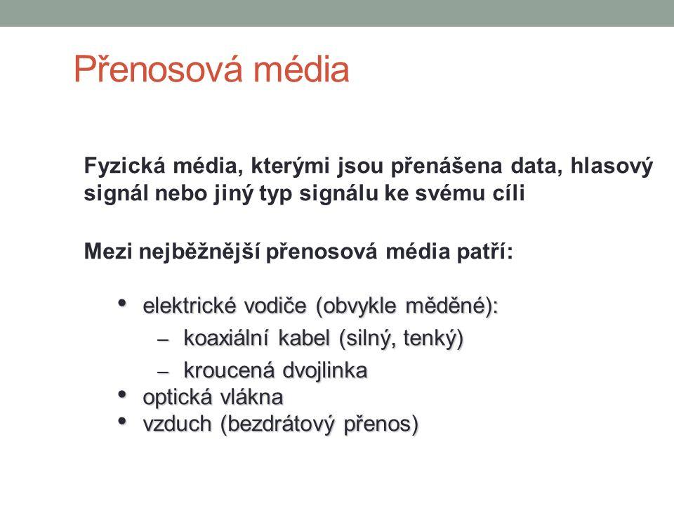Přenosová média Fyzická média, kterými jsou přenášena data, hlasový signál nebo jiný typ signálu ke svému cíli.