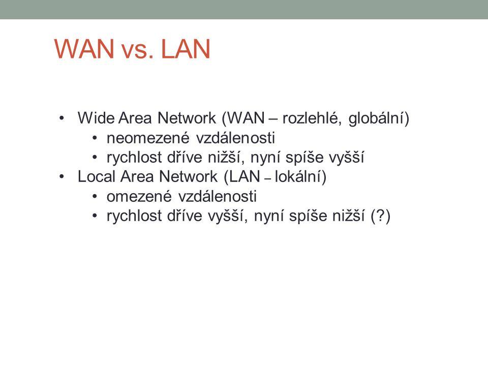 WAN vs. LAN Wide Area Network (WAN – rozlehlé, globální)