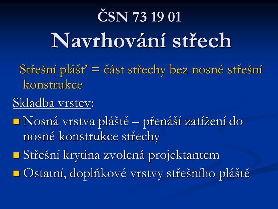 ČSN 73 19 01 Navrhování střech Střešní plášť = část střechy bez nosné střešní konstrukce. Skladba vrstev: